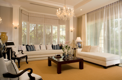 Layered curtains with roman blinds