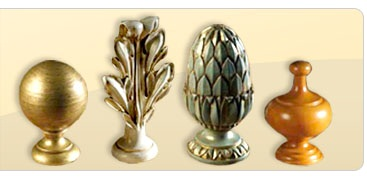 Assorted wooden curtain finials