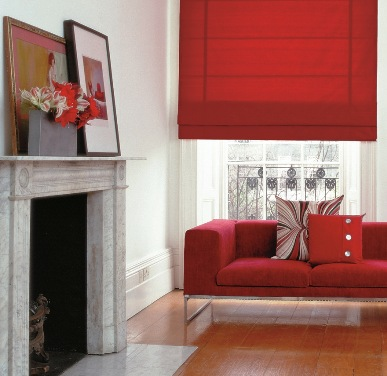 red window blind