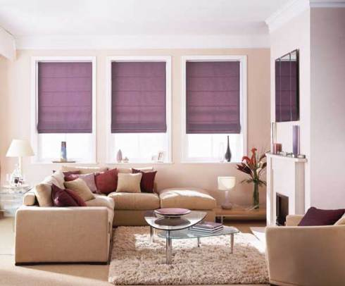 mauve roman blinds