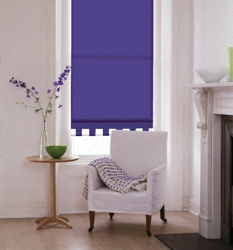 roller blind in bright lilac