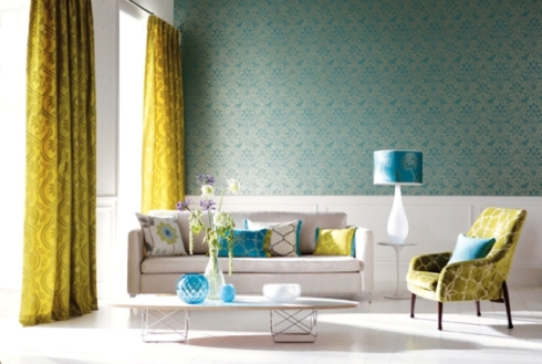 Clean bright colours are ideal for curtains and blinds