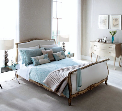 White and cream bedding and curtains