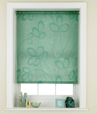 roller blinds in turquoise colours are fresh and relaxing