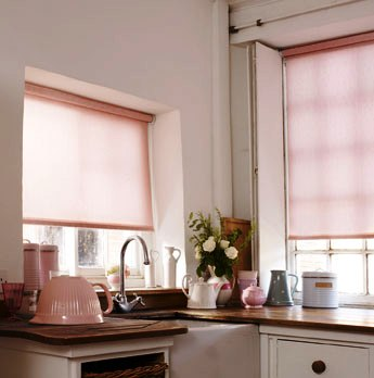 Pink makes a warm welcoming window treatment