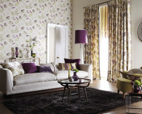Floral curtains and contrasting roman blind