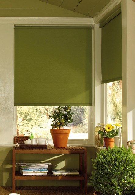 roller blind in green