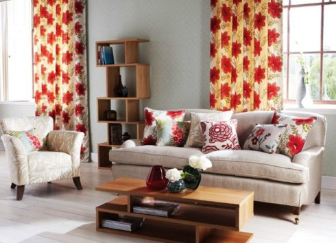 warm coloured curtains and blinds
