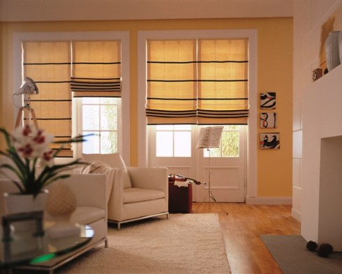 cream roman blinds