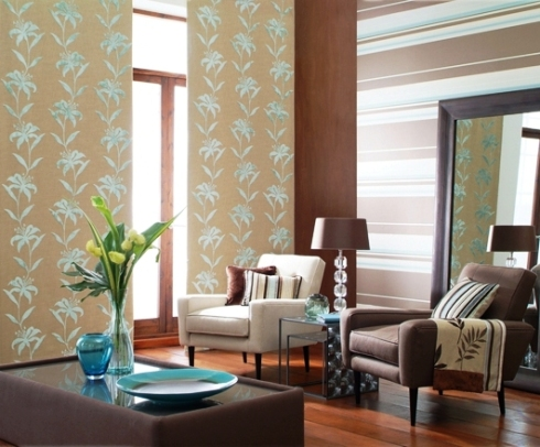 vertical curtains and horizontal wallpaper